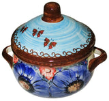 "Boleslawiec Polish Pottery Stoneware UNIKAT Container or Baker ""Blue Sky Meadow"""