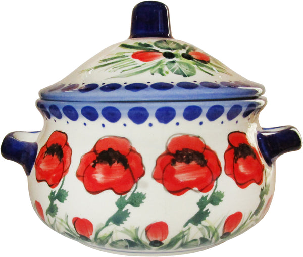 "Boleslawiec Polish Pottery Stoneware UNIKAT Container or Baker ""Poppy Field"""
