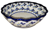 "Boleslawiec Polish Pottery UNIKAT Medium Scalloped Serving Bowl ""Forget Me Not"""