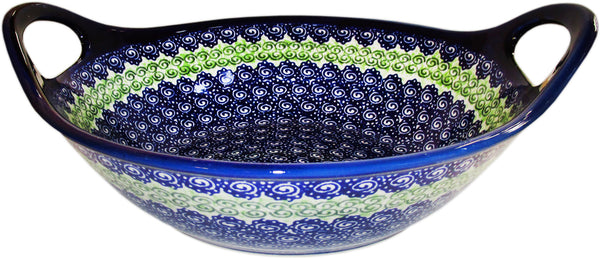 "Boleslawiec Polish Pottery UNIKAT Large Bowl with Handles ""Alex"""