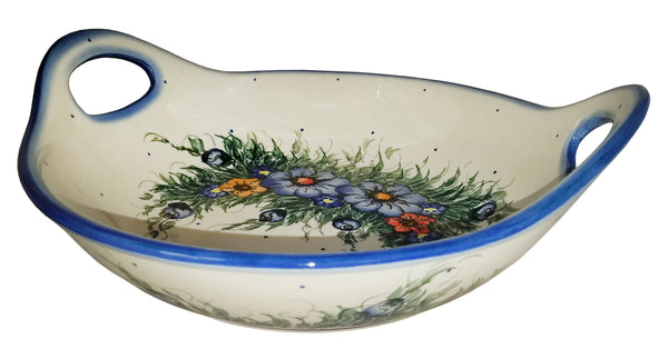 "Boleslawiec Polish Pottery UNIKAT Large Serving Bowl with Handles ""Wild Field"""