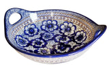 "Boleslawiec Polish Pottery UNIKAT Large Serving Bowl with Handles ""Blue Garden"""