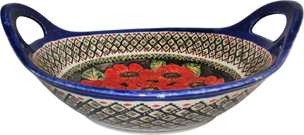 "Boleslawiec Polish Pottery UNIKAT Large Serving Bowl with Handles ""Red Garden"""
