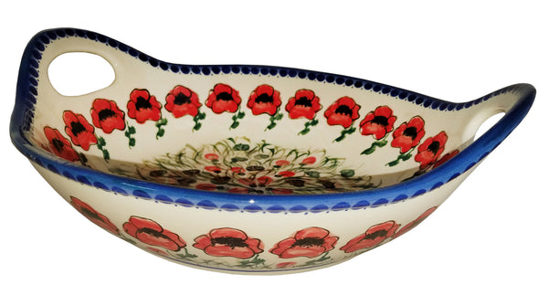 "Boleslawiec Polish Pottery UNIKAT Large Serving Bowl with Handles ""Poppy Field"""
