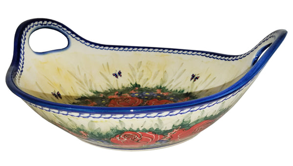 "Boleslawiec Polish Pottery UNIKAT Large Serving Bowl with Handles ""Wild Roses"""
