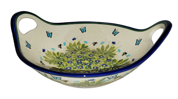 "Boleslawiec Polish Pottery UNIKAT Large Serving Bowl with Handles ""Serenity"""