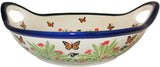"Boleslawiec Polish Pottery UNIKAT Large Serving Bowl with Handles ""Spring"""