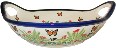 Boleslawiec Polish Pottery UNIKAT Large Serving Bowl with Handles