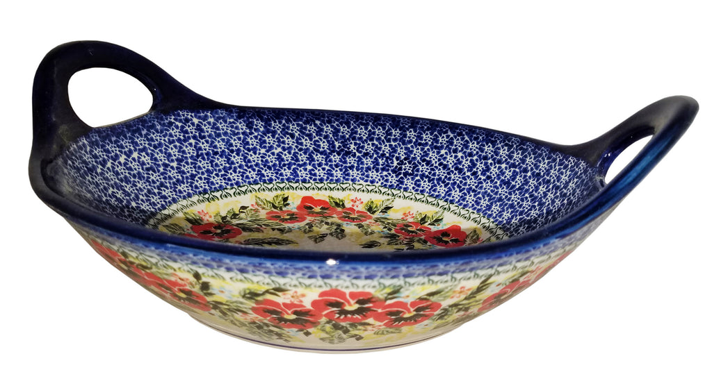 "Boleslawiec Polish Pottery UNIKAT Large Serving Bowl with Handles ""Summer Day"""