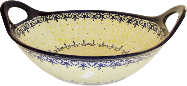 "Boleslawiec Polish Pottery UNIKAT Large Bowl with Handles ""Lace"""