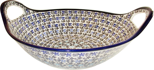 "Boleslawiec Polish Pottery UNIKAT Bowl with Handles ""Martina"""