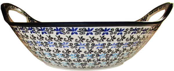 "Boleslawiec Polish Pottery UNIKAT Large Serving Bowl with Handles ""Martina"""