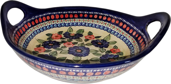 "Boleslawiec Polish Pottery UNIKAT Large Serving  Bowl with Handles ""Patricia"""