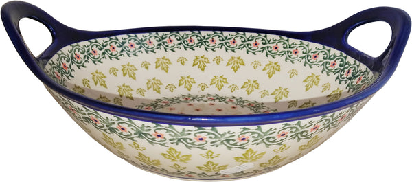 "Boleslawiec Polish Pottery UNIKAT Small Bowl with Handles ""Vermont"""