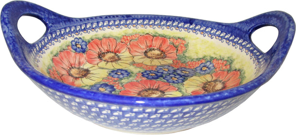 "Boleslawiec Polish Pottery UNIKAT Large Serving Bowl with Handles ""Flower Field"""