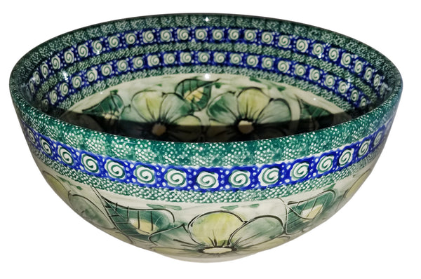 "Boleslawiec Polish Pottery Unikat Large Mixing or Serving Bowl ""Green Garden"""
