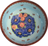 "Boleslawiec Polish Pottery Unikat Large Mixing or Serving Bowl ""Blue Sky Meadow"""