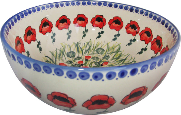 "Boleslawiec Polish Pottery Unikat Large Mixing or Serving Bowl ""Poppy Field"""
