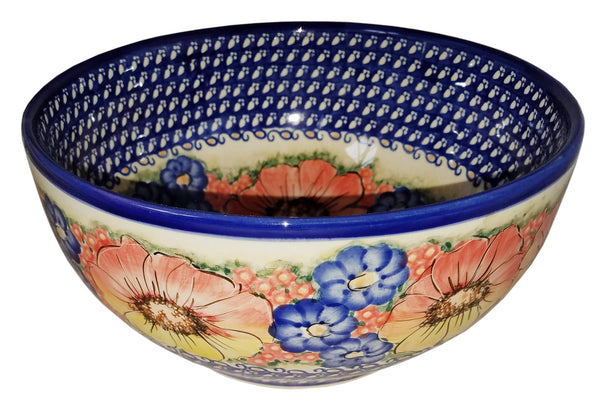 "Boleslawiec Polish Pottery Unikat Large Mixing or Serving Bowl ""Flower Field"""