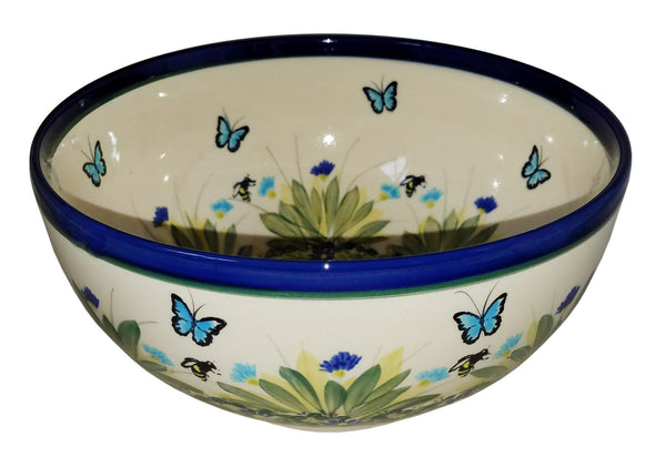 "Boleslawiec Polish Pottery Unikat Large Mixing or Serving Bowl ""Serenity"""
