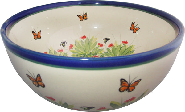 "Boleslawiec Polish Pottery Unikat Large Mixing or Serving Bowl ""Spring"""