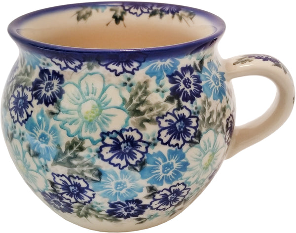 "Boleslawiec Polish Pottery UNIKAT Huge 22 oz Coffee Mug, Tea Bubble Cup or Soup Mug ""April"""