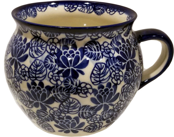 "Boleslawiec Polish Pottery UNIKAT Huge 22 oz Coffee Mug, Tea Bubble Cup or Soup Mug ""Madeline"""