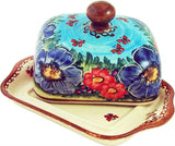 "Boleslawiec Polish Pottery UNIKAT Butter Dish ""Blue Sky Meadow"""