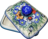 "Boleslawiec Polish Pottery UNIKAT Butter Dish, Serving or Storage Box ""Wild Field"""