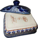 "Boleslawiec Polish Pottery UNIKAT Butter Dish, Serving or Storage Box ""Blue Garden"""