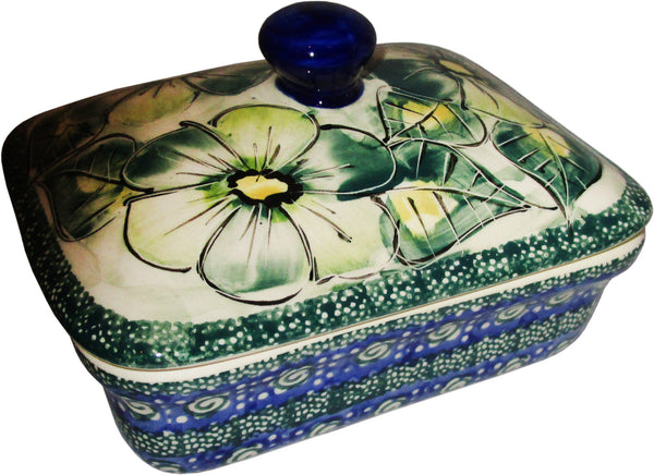 "Boleslawiec Polish Pottery UNIKAT Butter Dish, Serving or Storage Box ""Green Garden"""