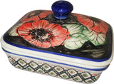 "Boleslawiec Polish Pottery UNIKAT Butter Dish, Serving or Storage Box ""Red Garden"""