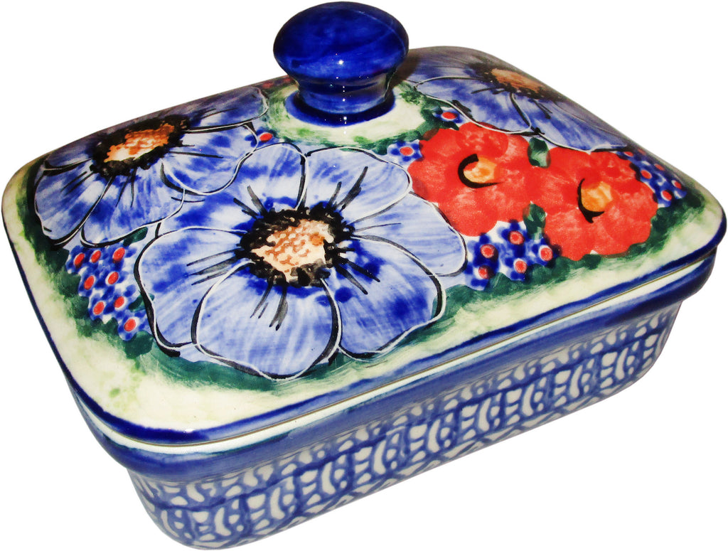 "Boleslawiec Polish Pottery UNIKAT Butter Dish, Serving or Storage Box ""Isabelle"""