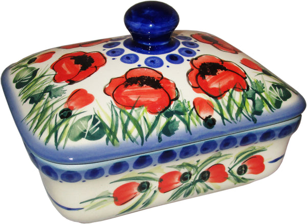 "Boleslawiec Polish Pottery UNIKAT Butter Dish, Serving or Storage Box ""Poppy Field"""