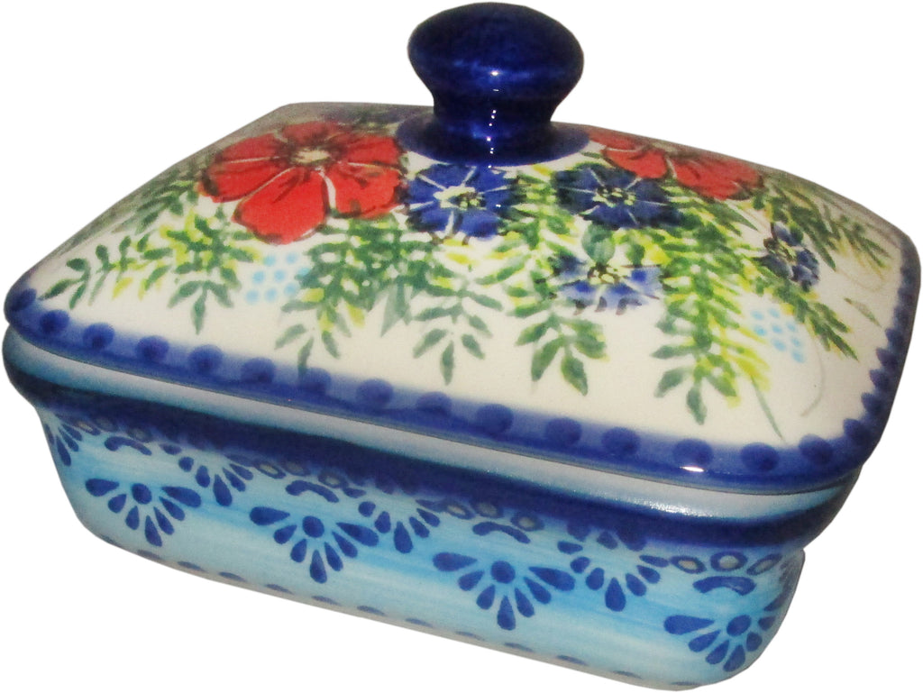 "Boleslawiec Polish Pottery UNIKAT Butter Dish, Serving or Storage Box ""Veronica"""