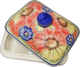"Boleslawiec Polish Pottery UNIKAT Butter Dish, Serving or Storage Box ""Flower Field"""