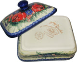 "Boleslawiec Polish Pottery UNIKAT Butter Dish, Serving or Storage Box ""Wild Roses"""