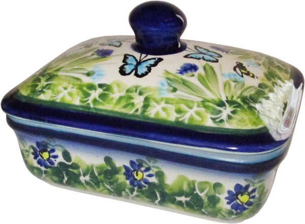 "Boleslawiec Polish Pottery UNIKAT Butter Dish, Serving or Storage Box ""Serenity"""