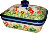 "Boleslawiec Polish Pottery UNIKAT Butter Dish, Serving or Storage Box ""Spring"""