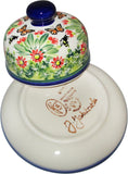 "Boleslawiec Polish Pottery UNIKAT Covered Butter or Cheese Dish ""Spring"""