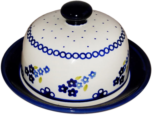 "Boleslawiec Polish Pottery Covered Butter or Cheese Dish ""Forget Me Not"""