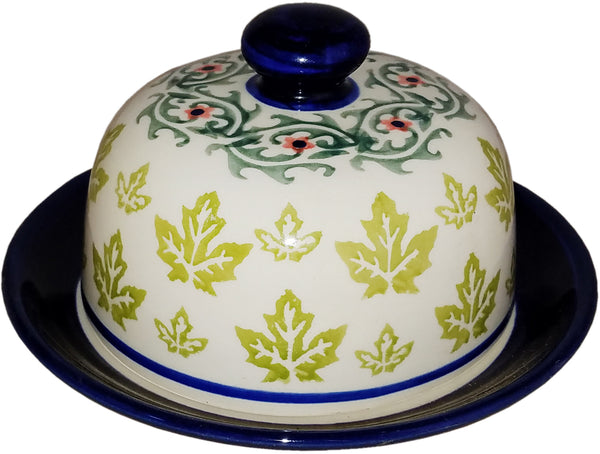 "Boleslawiec Polish Pottery Covered Butter or Cheese Dish ""Vermont"""