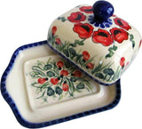 "Boleslawiec Polish Pottery UNIKAT Butter or Cheese Dish ""Poppy Field"""