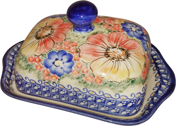 "Boleslawiec Polish Pottery UNIKAT Butter Dish ""Flower Field"""