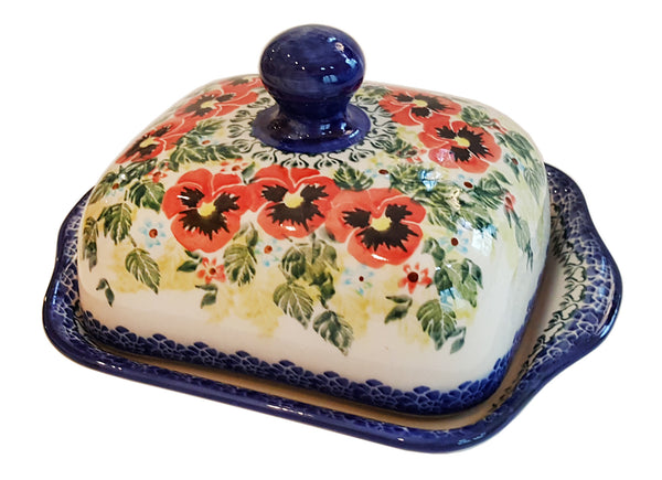 "Boleslawiec Polish Pottery UNIKAT Butter Dish ""Summer Day"""