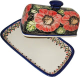 "Boleslawiec Polish Pottery UNIKAT One Stick Butter Dish American Style ""Red Garden"""