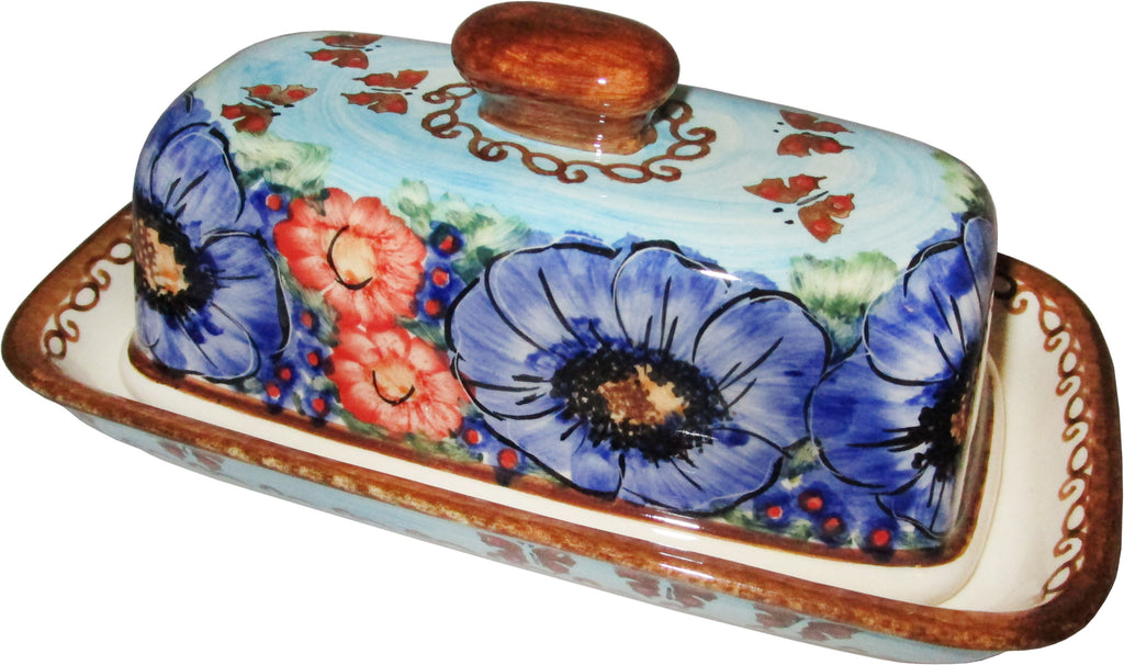 "Boleslawiec Polish Pottery UNIKAT One Stick Butter Dish American Style ""Blue Sky Meadow"""