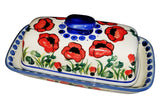 "Boleslawiec Polish Pottery UNIKAT One Stick Butter Dish American Style ""Poppy Field"""