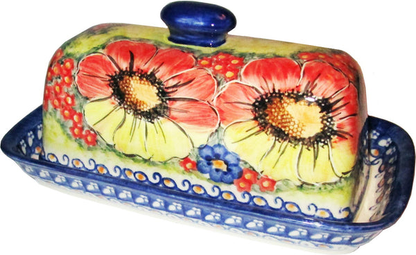 "Boleslawiec Polish Pottery UNIKAT One Stick Butter Dish American Style ""Flower Field"""