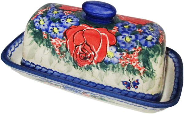"Boleslawiec Polish Pottery UNIKAT One Stick Butter Dish American Style ""Wild Roses"""